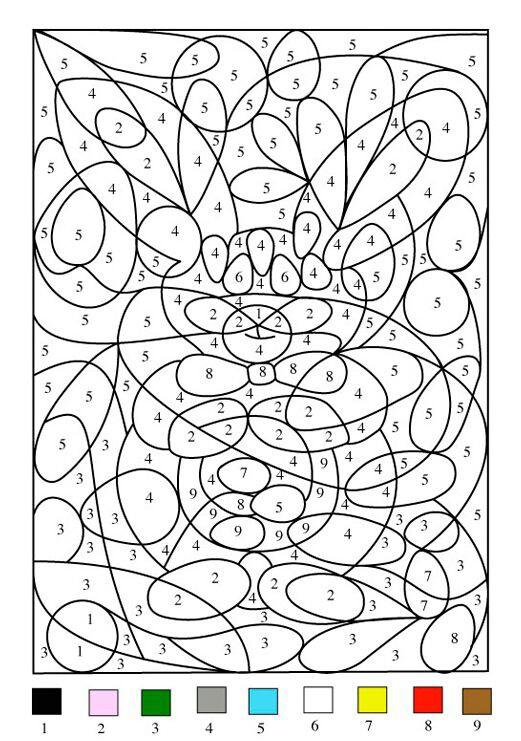 Kolorowanki z numerami – spostrzeganie figury i tła