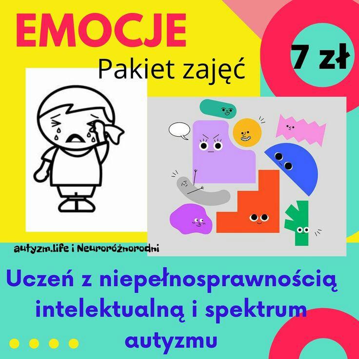 """Pakiet zajęć """"Emocje"""" dla uczniów z   niepełnosprawnością intelektualną i spektrum autyzmu – 7 zł"""
